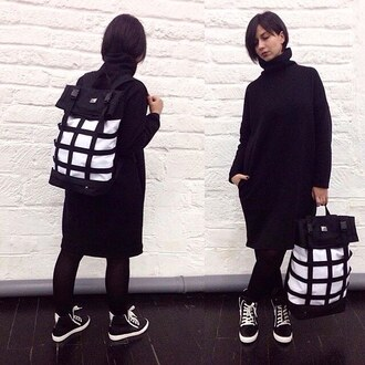 bag backpack travel bag travel backpack black and white rucksack coat black black coat streetstyle fusion accessories