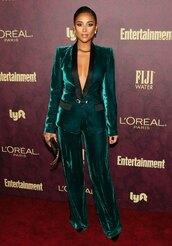 jacket,velvet,suit,shay mitchell,celebrity,pants,emerald green