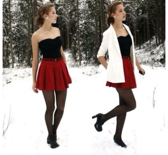 adorable cute coat fall dressy snow christmas belt skirt red black white tights chic fancy casual winter dresses tank top