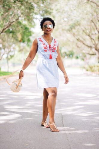 pinksole blogger sunglasses jewels dress shoes bag basket bag mini dress summer dress summer outfits sandals