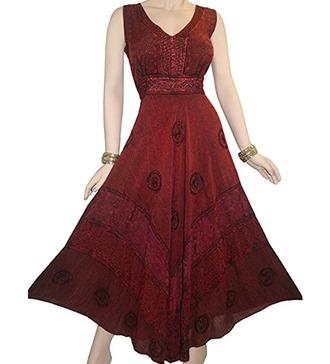 dress red hipster summer beach festival flare gypsy dress midi dress