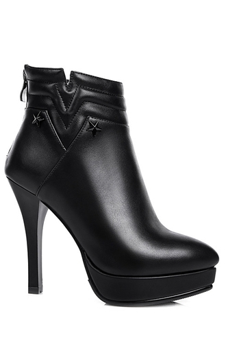 shoes boots black high heels faux leather black platform stiletto heel ankle boots stars sexy fall outfits trendy