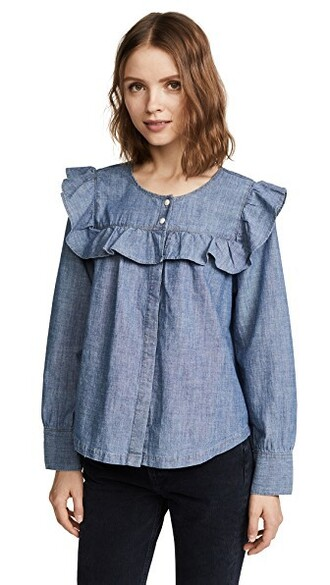 top ruffle denim