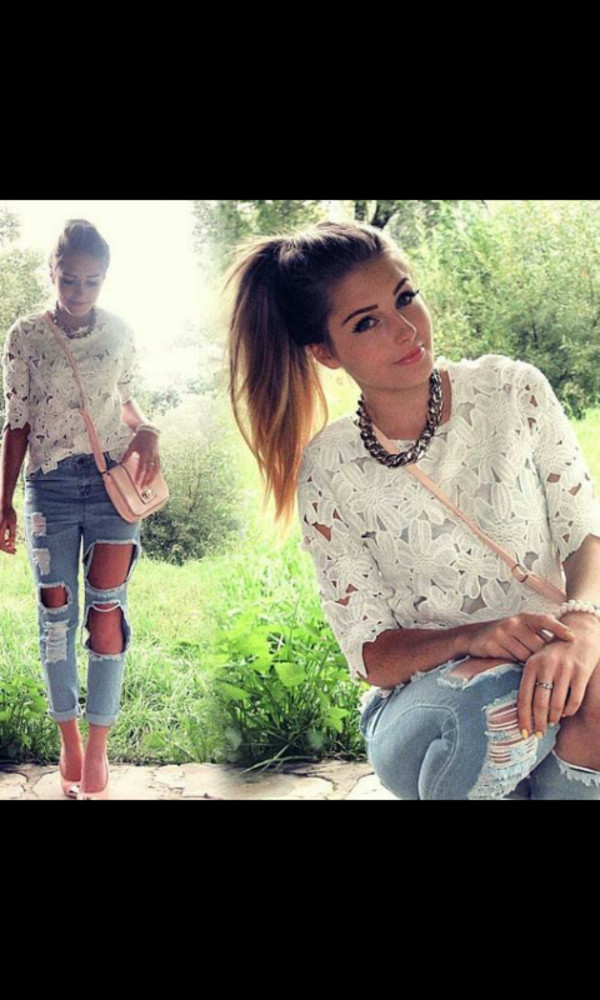 jeans ripped jeans lace top