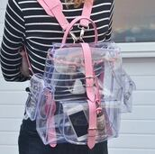 pink bag,clear,transparent bag,kawaii,kawaii accessory,soft grunge,grunge,buckles,kawaii bag,pink,cyber,bag,backpack,see through,tumblr,sexy,cute,pastel,trending bag,transparent  bag,plastic