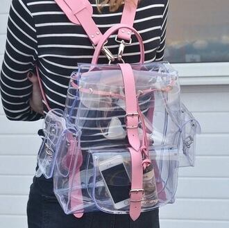 pink bag clear transparent bag kawaii kawaii accessory soft grunge grunge buckles kawaii bag pink cyber bag backpack see through tumblr sexy cute bagback pastel trending bag transparent  bag plastic