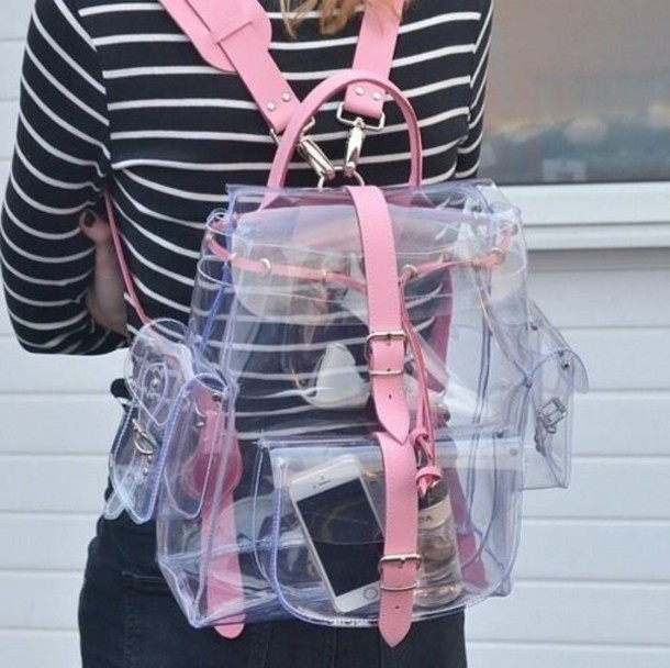 pink bag clear transparent bag kawaii kawaii accessory soft grunge grunge buckles kawaii bag pink cyber buckles bag backpack see through tumblr sexy cute pastel trending bag transparent  bag backpack plastic