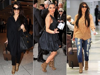 shoes dress black kim kardashian leopard print denim blouse jeans