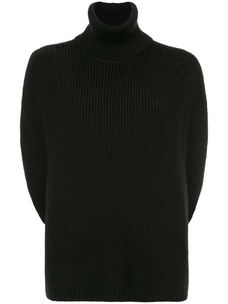 poncho top women black wool knit