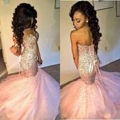 dress,half cut,pink,prom dress,dark royal blue,sparkle,prom,mermaid,pink dress,mermaid prom dress,bow on back,rhinestones,diamonds,pretty,beautiful,nide,prom gown,long prom dress,sequin prom dress,pink prom dress,elegant dress,elegant,sequin dress,sequins,corset,rose gold,pink rhinestone mermaidprom,mermaid dresses,sexy prom dress,beaded dress