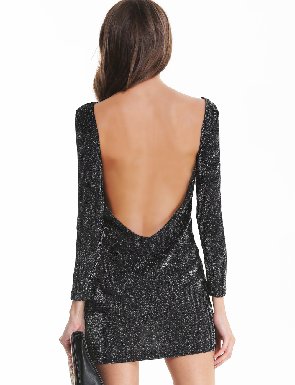 Black long sleeve backless bodycon dress