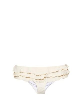 bikini ruffled bikini cream swimwear