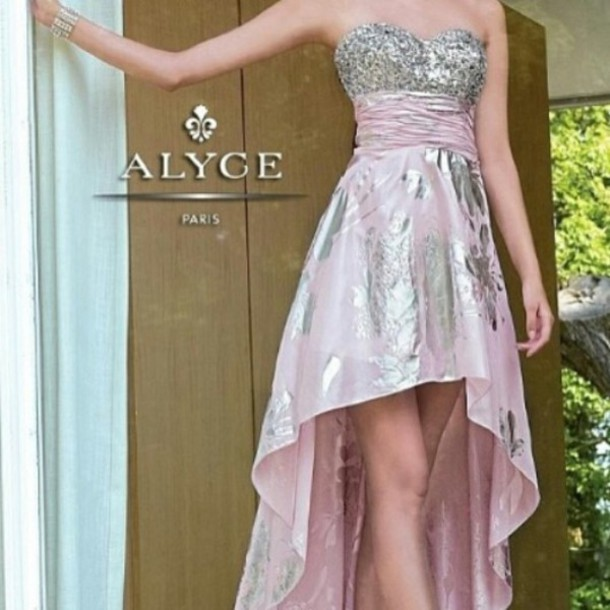 dress prom metallic light pink high-low dresses cute dress sparkle
