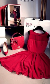 dress,red,Valentino,all red wishlist,All red outfit,all red,FIND IT,find it :),prom dress,mesh panel,short sleeved,shot,fancy,sinched waist,short dress,red dress,classy dress,louis vuitton,chanel,tiffany and co,miley cyrus,ariana grande dress,red  dresses,beautiful,heels,red heels,handbag
