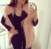 jacket,faux fur vest,fur vest,pink,selfie,fur,vest