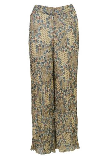 Ebony Chiffon Printed Wide Trouser Pant in Cream Print - Pop Couture