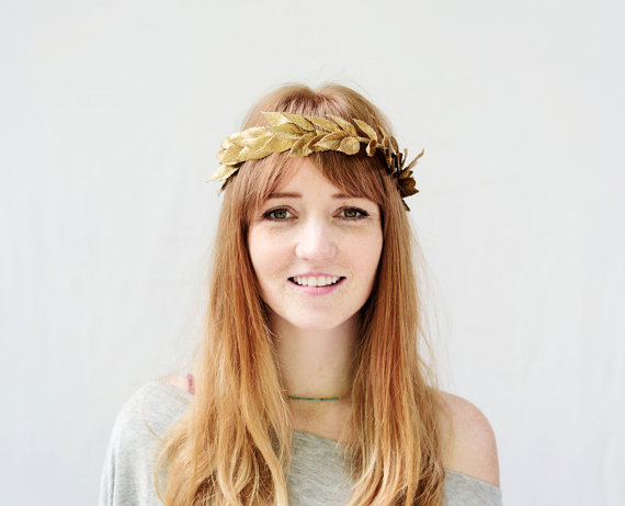 Unisex Gold Leaf Crown Gold Leaf Headband by BloomDesignStudio c284c57892c