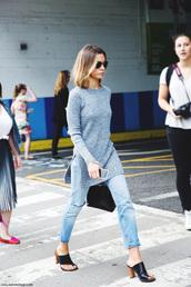 mules heel,mules,mule,black,brown,chunky heels,shoes,blouse,sweater,grey sweater