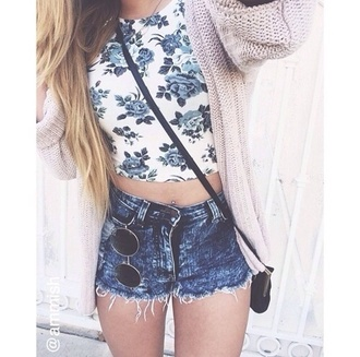 tank top floral flowers floral tank top crop tops blue white shorts denim shorts cardigan oversized cardigan sunglasses