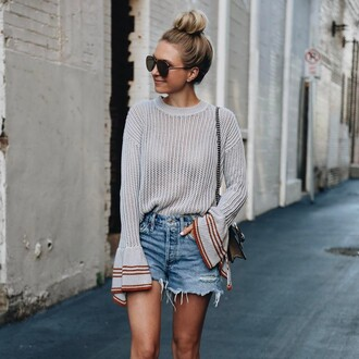 sweater tumblr grey sweater bell sleeves bell sleeve sweater denim denim shorts blue shorts sunglasses aviator sunglasses