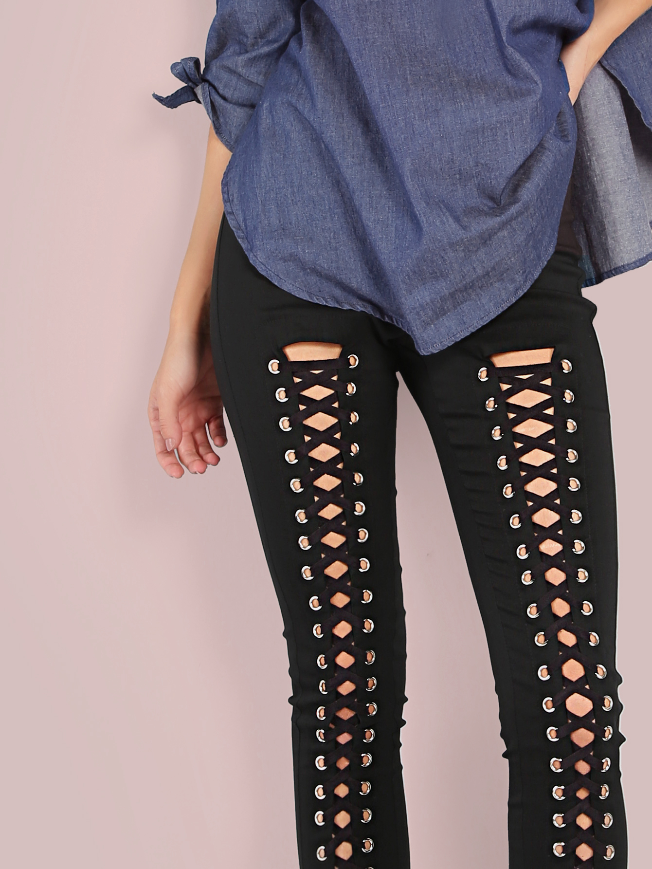5937c592d0 All Lace Up Skinny Pants BLACK -SheIn(Sheinside)