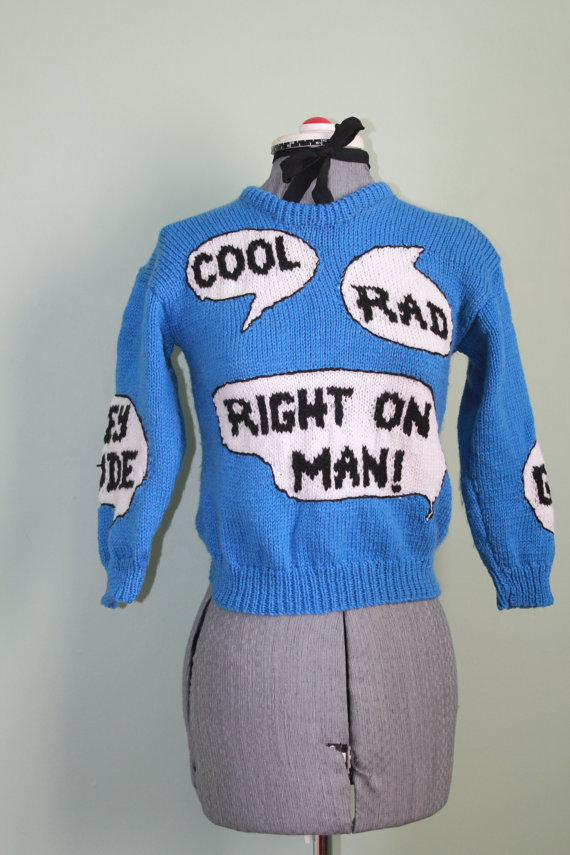 1970s Novelty Sweater  Hey Dude by strikematch on Etsy