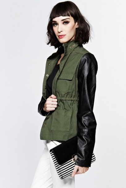 Jacket: anorak, anorak jacket, army green jacket, faux leather ...