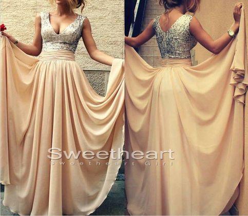 Line v neckline chiffon long prom dresses, evening dresses