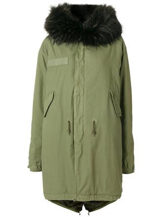 coat parka fur women cotton green