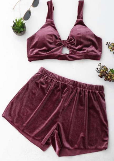 shorts girly burgundy two-piece lounge wear velvet crop tops crop cropped