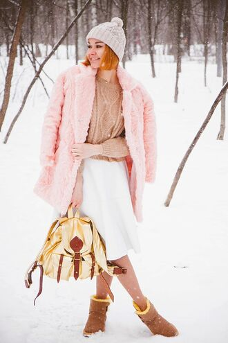 gvozdishe blogger faux fur pink coat backpack cable knit white skirt winter outfits