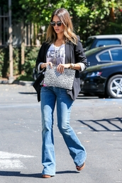 top,bag,jessica alba,jeans,jacket