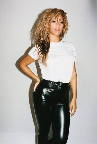 pants leather pants beyonce black and white jeans