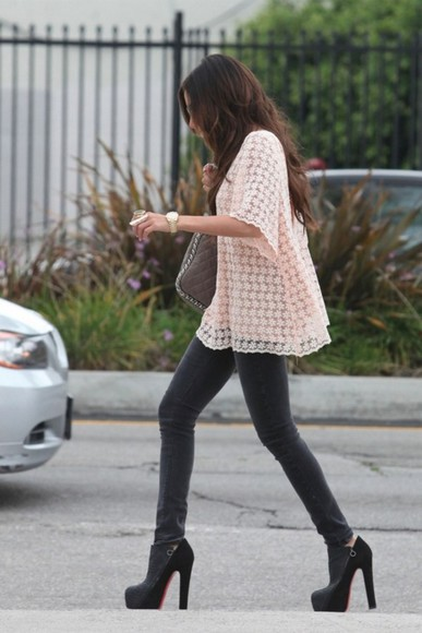 ashley tisdale shirt grey jeans louis vuitton shoes highheels loose fit blouse baby pink jeans