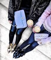 pants,tumblr,black pants,black leather pants,leather pants,bag,blue bag,chanel,chanel bag,silver bag,jacket,sequin jacket,sequins,sweater,pink sweater,boots,ruffle,black boots,gold boots,ankle boots,pointed boots