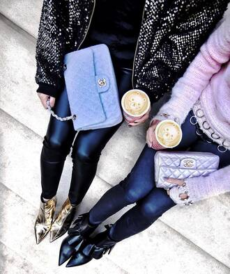 pants tumblr black pants black leather pants leather pants bag blue bag chanel chanel bag silver bag jacket sequin jacket sequins sweater pink sweater boots ruffle black boots gold boots ankle boots pointed boots