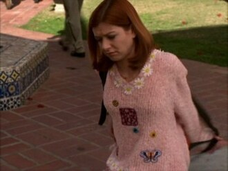 sweater allison hannigan allison hannigan buffy the vampire slayer buffythevampireslayer pink fall outfits fluffy top winter outfits warm flowers willow spike ange darla dru 1900s 1900s fashion 90's fashion 90s style 90's shirt 2000s 2000 fashions