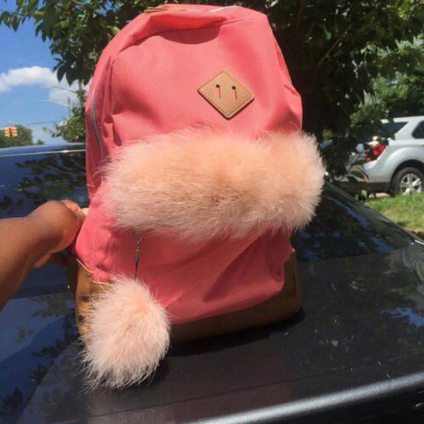 bag bookbag pink pretty girly fur furry bag baby pink beautiful lovely