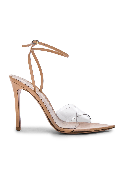 Gianvito Rossi Leather & Plexi Stark Ankle Strap Sandals in Transparent & Powder | FWRD