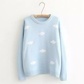 sweater,lolita,clouds,pastel goth,kawaii,blue,sweater weather,pastel goth sweater