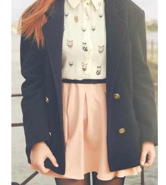 skirt owls pink black jacket skirboho hipster alternative soft grunge blouse