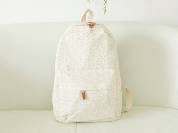 bag backpack lace backpack school bag lace white
