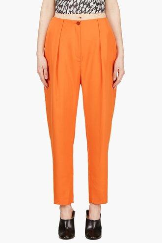 waist pants clothes women low orange oversize