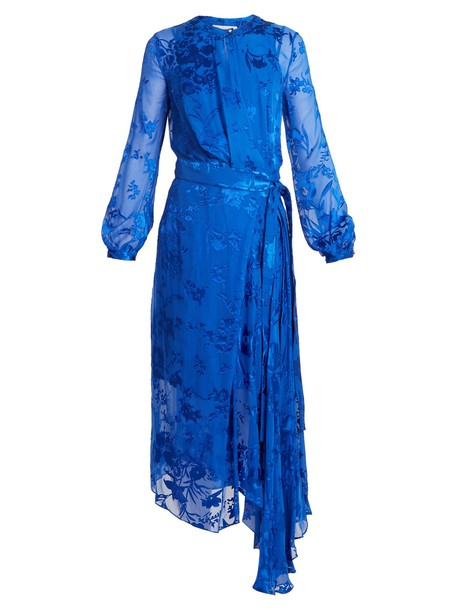 PREEN BY THORNTON BREGAZZI dress wrap dress silk blue