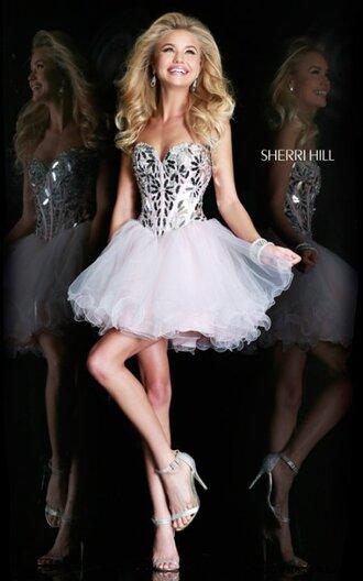 dress party dress ivory dress sherri hill short prom dress homecoming dress