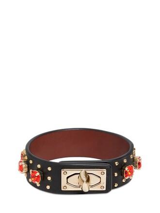 rhinestones leather black jewels