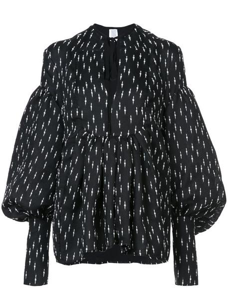 Rosie Assoulin blouse women black silk wool top
