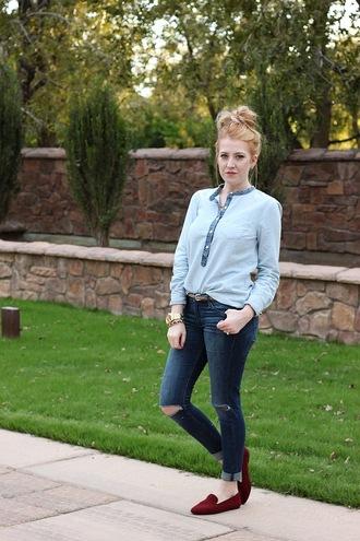fashion flirtation blogger jewels slip on shoes red velvet ripped jeans blouse velvet shoes