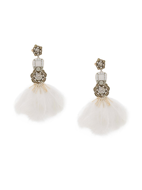 Ranjana Khan feathers women earrings white jewels