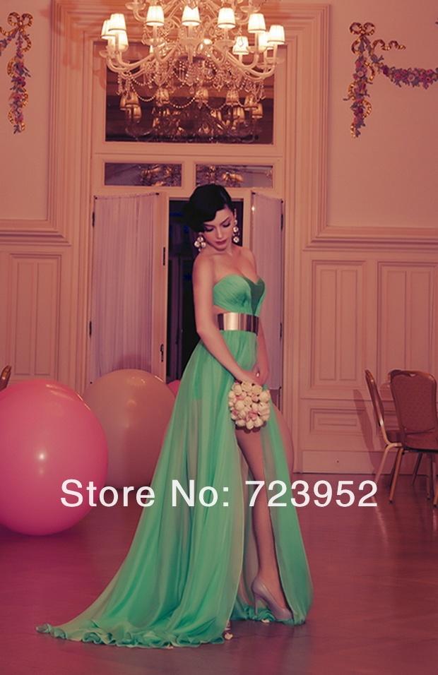 Stylish sexy sweetheart cutout silk chiffon high slit amazing green backless prom dress evening gowns with gold belt